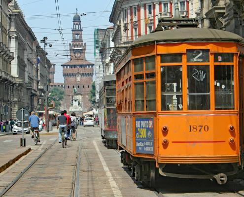 Historic Tram with Castello Sforzesco in Milan