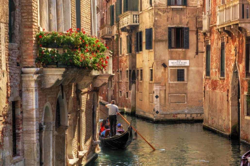 Venice, Italy. Gondola on a romantic canal