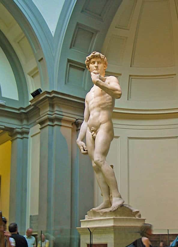 The statue of David by the sculptor Michelangelo