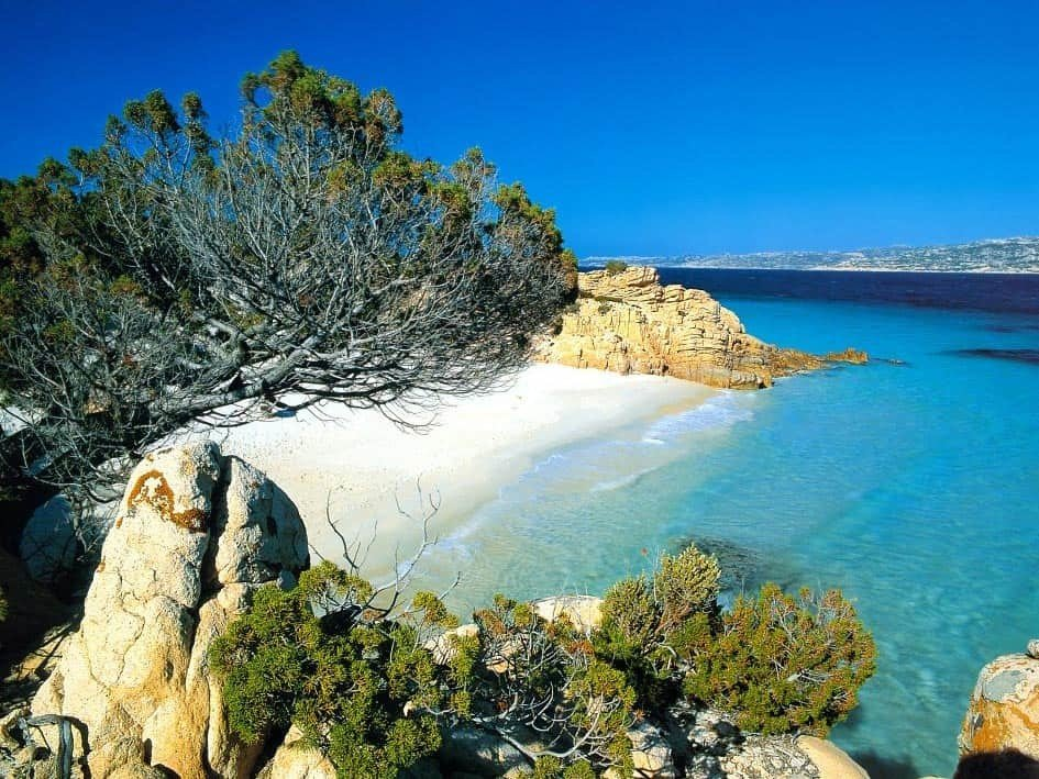 Sardinia Coast in Italy with crystal clear water