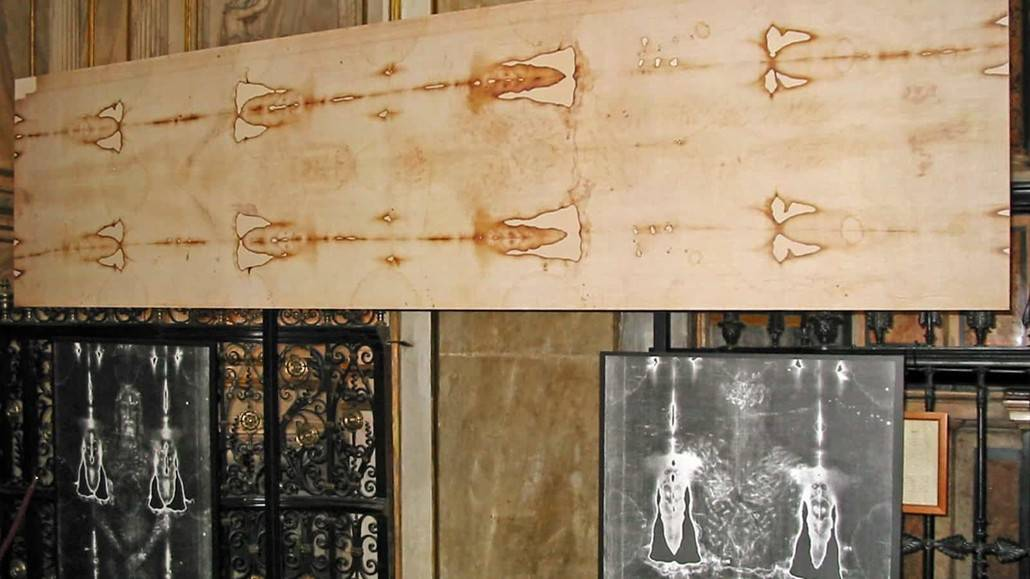 The holy shroud of Jesus Christ is kept in Turin, Italy.