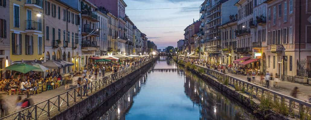 The Navigli district of Milan is known for its bars, shops, and art galleries