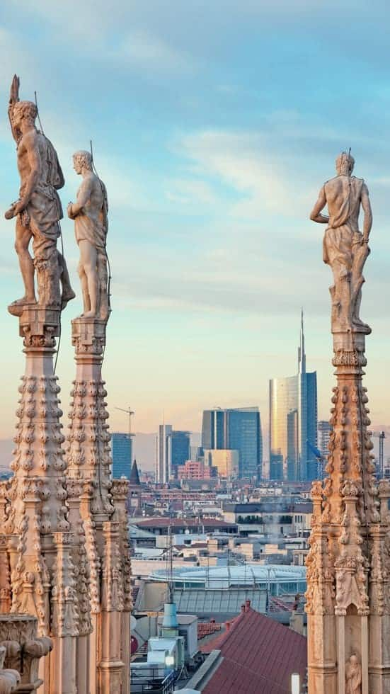 The new skyline of Milan from the rooftop of the Milan Cathedral Duomo.